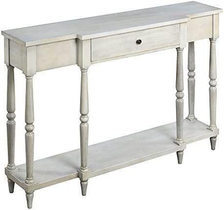 Convenience Concepts Wyoming Antique Console Table, White 141[並行輸入]
