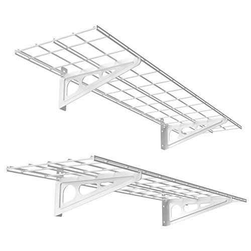FLEXIMOUNTS 2-Pack 1x4ft 12-inch-by-48-inch Wall Shelf Garage Storage Rack Wall Mounted Floating Shelves, White