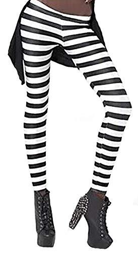 - Sister Amy Women's High Waist Geometric Printed Ankle Elastic Tights Leggings Black/White Stripes US XS