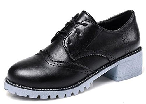 IDIFU Womens Casual Low Top Lace Up Brogues Oxfords Shoes Mid Chunky Heels Black 2