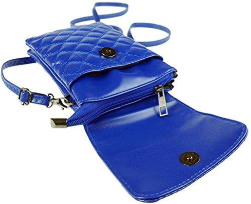 Cuir à Porté Sac Bandoulière Femmes Mini Portefeuille en Matelassé Main Épaule Petit Pochette Sacoche Sacs Bleu BAORwq