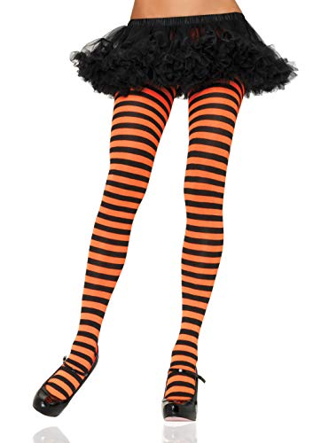 Leg Avenue Women's Nylon Striped Tights, Black/Orange, One Size -