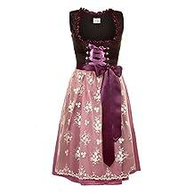 Bavarian Women's Midi Dirndl dress 3-pieces+apron+blouse black purple