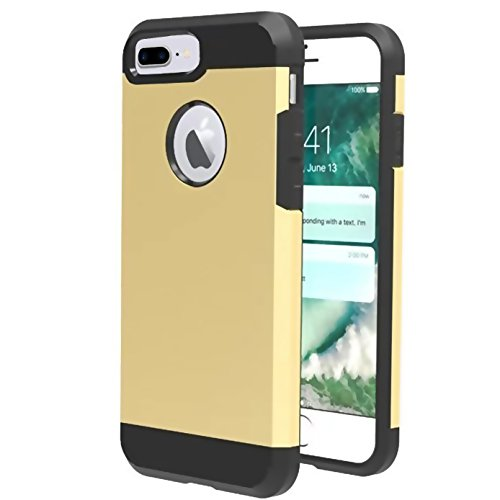 iPhone 8 plus Case,iBarbe Slim Extreme Heavy Duty Rugged Hybrid Impact 2 Color Shockproof Soft Rugged Hard PC Anti-slip Cover Armor Shock Absorption Protection for iPhone8 5.5 plus(gold/black)]()