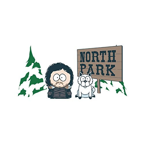 North Park Jon Snow And Ghost Game Of Thrones, Men's T-Shirt, White, X-Large