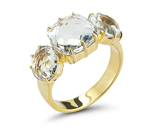I REISS 14K Yellow Gold 6.75ct TGW Green Amethyst Ring