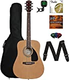fender squier acoustic - Fender FA-115 Acoustic Guitar Bundle with Gig Bag, Tuner, Strings, Strap, Picks, and Austin Bazaar Instructional DVD