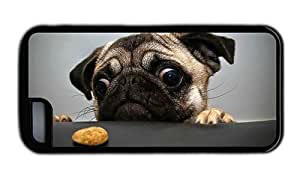 Hipster iPhone 5C case slim Pug Cookie TPU Black for Apple iPhone 5C