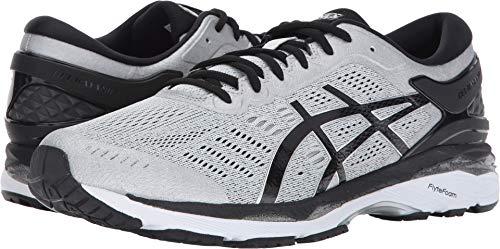 ASICS Mens Gel-Kayano 24 Running Shoe, Silver/Black/Mid Grey, 10 2E - Shoes Running Asics Inserts