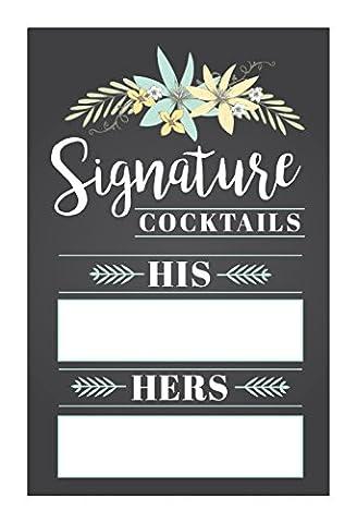 WEDDING SIGNATURE COCKTAIL DRINK SIGN. Elegant and Customizable Signature Cocktail Sign for Wedding Reception.