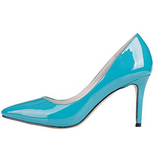 MERUMOTE - Zapatos de tacón fino Mujer Blue-B-Patent