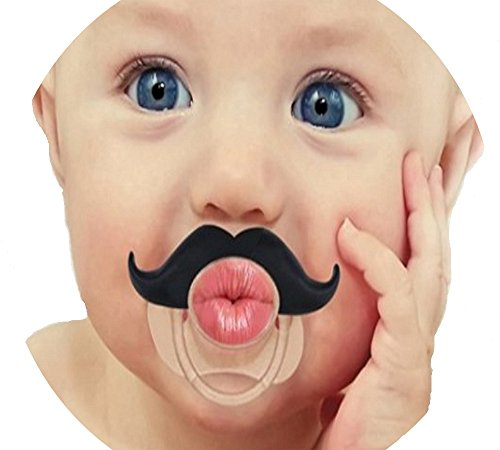 Baby Handlebar Mustache Pacifier - Funny Lip Pacifiers For Girls and Boys Shower Gifts
