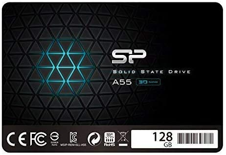 "Silicon Power 128GB SSD three-D NAND A55 SLC Cache Performance Boost SATA III 2.5"" 7mm (0.28"") Internal Solid State Drive (SU128GBSS3A55S25AC)"