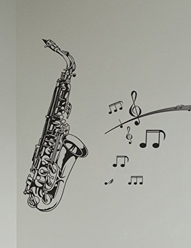 Amazon.com: Stickerbrand Saxophone with Music Notes Wall Decal ...
