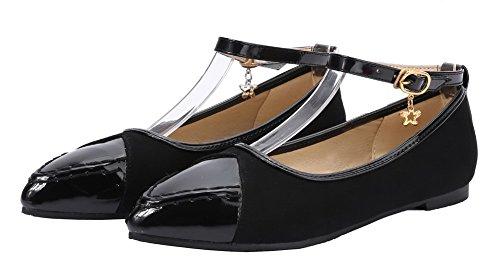 Odomolor Women's Buckle PU Low-Heels Assorted Color Pumps-Shoes Black Suvnq9d