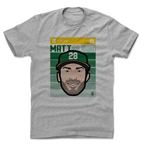 500 LEVEL Matt Olson Cotton Shirt Medium Heather Gray - Oakland Baseball Men's Apparel - Matt Olson Oakland Fade