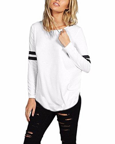 Blanco Styledome Elegante Largas Blusa Algodón Casual Camiseta Mujer Cuello Larga Redondo Mangas 77a1w