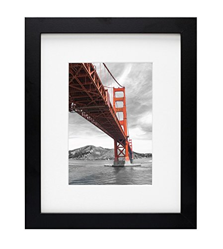 Frametory, 8X10 Black Picture Frame - Made to Display Pictures 5x7 Photo with Ivory Color Mat - Wide Molding - Preinstalled Wall Mounting Hardware