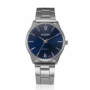DOLDOA Mens Fashion Watch Stainless Steel Analog Quartz Vintage Business Wrist Watches (B)