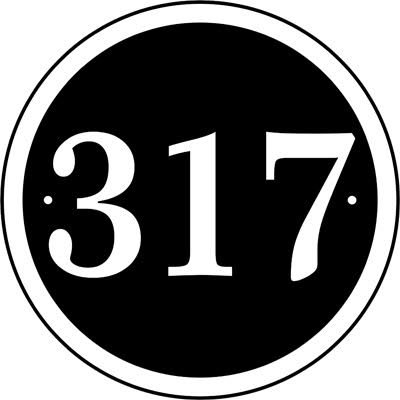 Comfort House Personalized Round Address Plaque - Round House Number Sign - Black Background White Numbers CRD08
