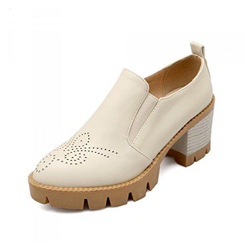 Mode Talon on Femme Beige Jrenok Chaussure Slip Mocassins Avec qTAEH