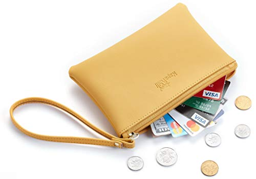 NapaWalli Genuine Leather Cash Coin Purse Pouch Make up Cellphone Bag with Strap (Cutie Yellow) Change Purse Coin Bag
