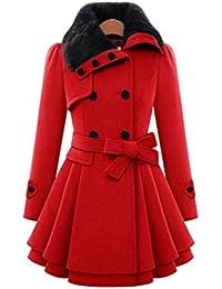 Women Winter Outwear Clearance Warm Slim Wool Coat Jacket Thick Parka Long Overcoat