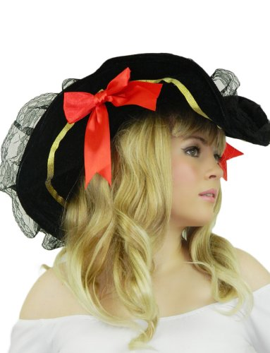 Yummy Bee Womens Pirate Hat Captain Adult Tricorn Black Red (Female Highwayman Costume)