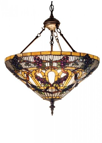 Meyda Tiffany 65651 Jeweled Grape Inverted Pendant Light Fixture, 20