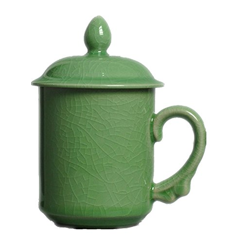 Celadon Coffee Mugs with Lid 15oz Porcelain Teacups(Army Green)