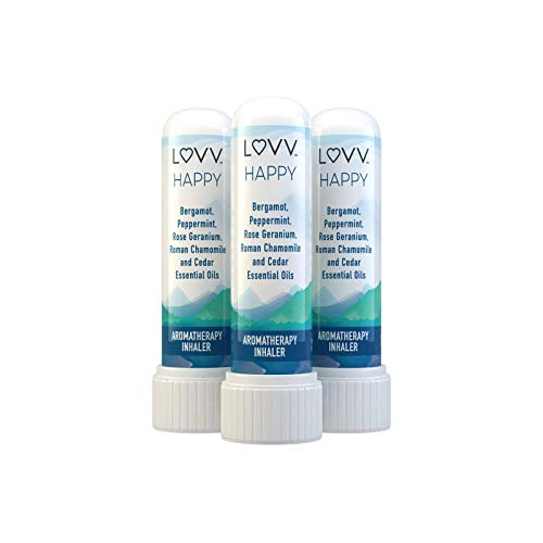 HAPPY Portable Aromatherapy Nasal Inhaler - Cheerful Blend of Roman Chamomile, Peppermint, Bergamot, Rose Geranium, Cedar Wood - Personal Pocket Essential Oil Diffuser - Set of 3 (Oil Aromatherapy Geranium)