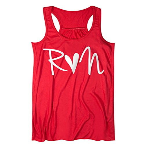 Gone For a Run Run Heart Flowy Racerback Tank Top | Running Tanks Red | Adult X-Small by Gone For a Run