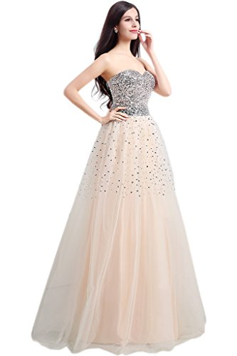 Ivydressing Ausschnitt Tuell A Champagner Promkleid Damen Paillette Herz Ballkleider Abendkleid Linie rpwUrfT