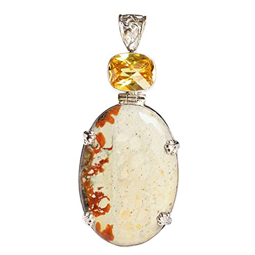 (Fabulous Wild Horse Jasper & Citrine Gemstone 925 Solid Sterling Silver Pendant For Girls FSJ-432)