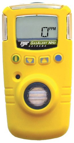 BW Technologies GAXT-A2-DL GasAlert Extreme High Range Ammonia (NH3) Single Gas Detector, 0-400 ppm Measuring Range, Yellow by BW Technologies