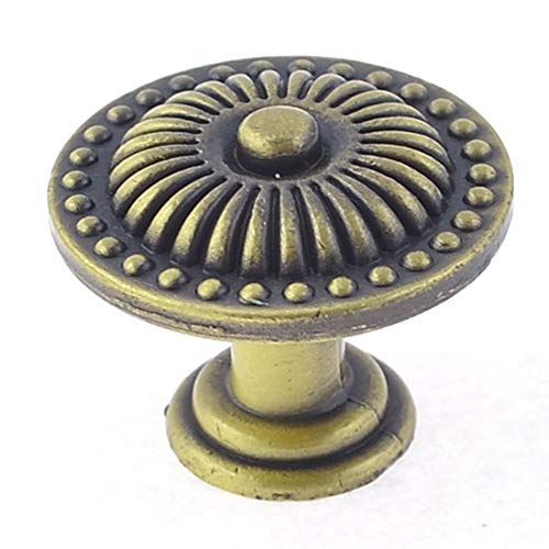 Aexit Vintage Bronze Home Hardware Tone Carved Leaves Drawer Cabinet Round Knob Pull 0.9