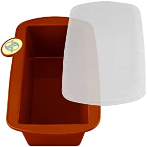 Smartware Silicone Loaf Pan Includes Storage Lid, Terracotta