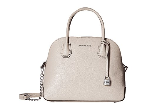 - Michael Kors Studio Mercer Dome Large Pebbled Cement Gray/Silver Leather Satchel Bag New