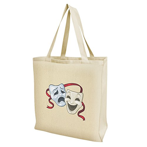 Drama Comedy Tragedy Masks Theater Grocery Travel Reusable Tote Bag - Large]()