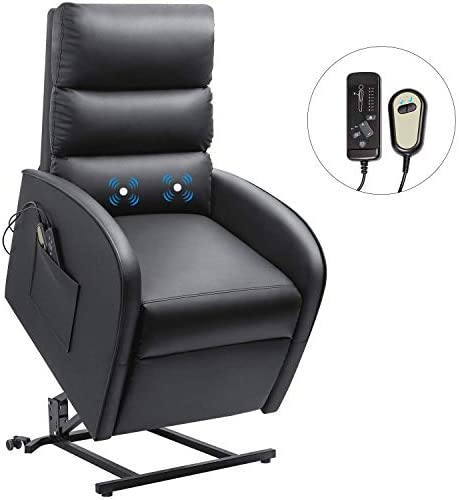 Furniwell Power Lift Recliner Chair for Elderly Massage Electric Single Sofa Modern Padded Living Room Chair Home Theater Seating Lounge Reclining Chair with Side Pockets Black