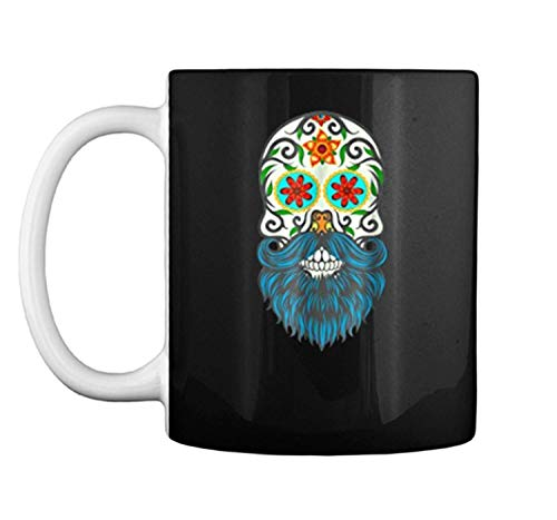 Day Of The Dead Bearded Sugar Skull Halloween Costume Mug Coffee Mug (White, 11 oz) -