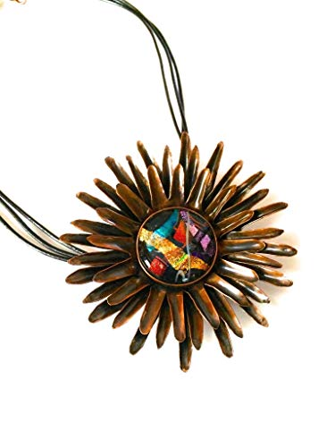 Large Copper and Dichroic Glass Sunflower Pendant Necklace - Multicolor Fused Glass Statement Necklace - Custom Design - Handmade Jewelry by 3D Glass Designs