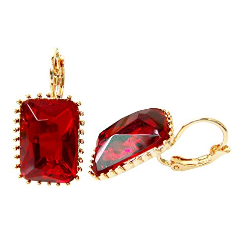 Navachi 18k Gold Plated Square Red Crystal Acetate Az2713e Leverback Earrings