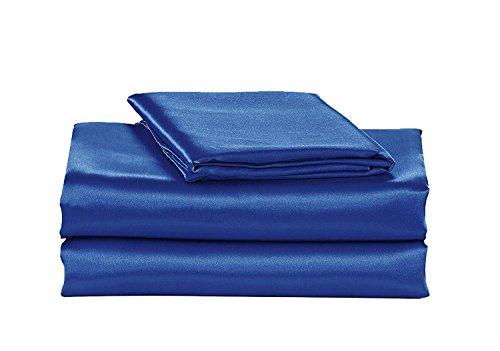 California Drapes Super Soft & Silky Satin Sheet Set (Royal Blue, Queen)