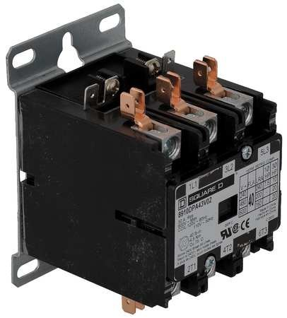 3 Pole, 40 Amp Inductive Load, 110 Coil VAC at 50 Hz and 120 Coil VAC at 60 Hz, Definite Purpose Contactor