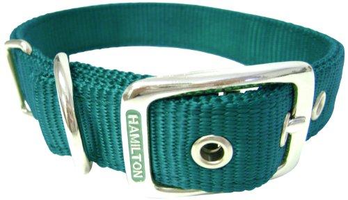 Hamilton Double Thick Nylon Deluxe Dog Collar, 1-Inch by 22-Inch, Dark Green