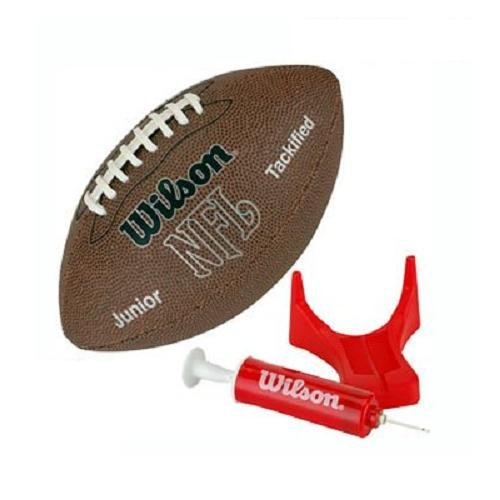 Wilson NFL MVP Junior Football with Pump and Tee Brown