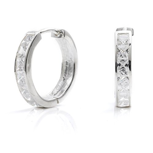Silverly Women's .925 Sterling Silver Square Cubic Zirconia Channel Set Hoop Huggie Earrings