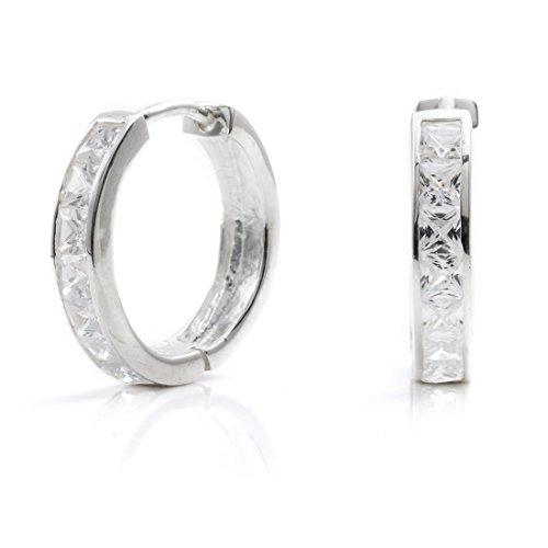 (Silverly Women's .925 Sterling Silver Square Cubic Zirconia Channel Set Hoop Huggie Earrings)