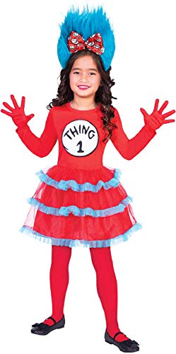 Girls Thing 1 Or 2 Tutu Dress Dr Seuss Cat in The Hat World Book Day Film Movie Fancy Dress Costume Outfit (6-8 Years)